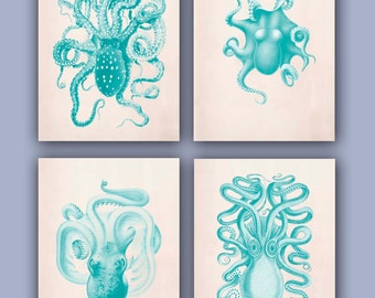Octopus Collection Prints, Set of 4, 11x14,  Vintage illustrations in green turquoise, Nautical Art, beach cottage, Coastal living decor