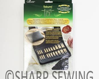 Clover Takumi Interchangeable Circular Knitting Needle Combo Set Bamboo Needles # 3683