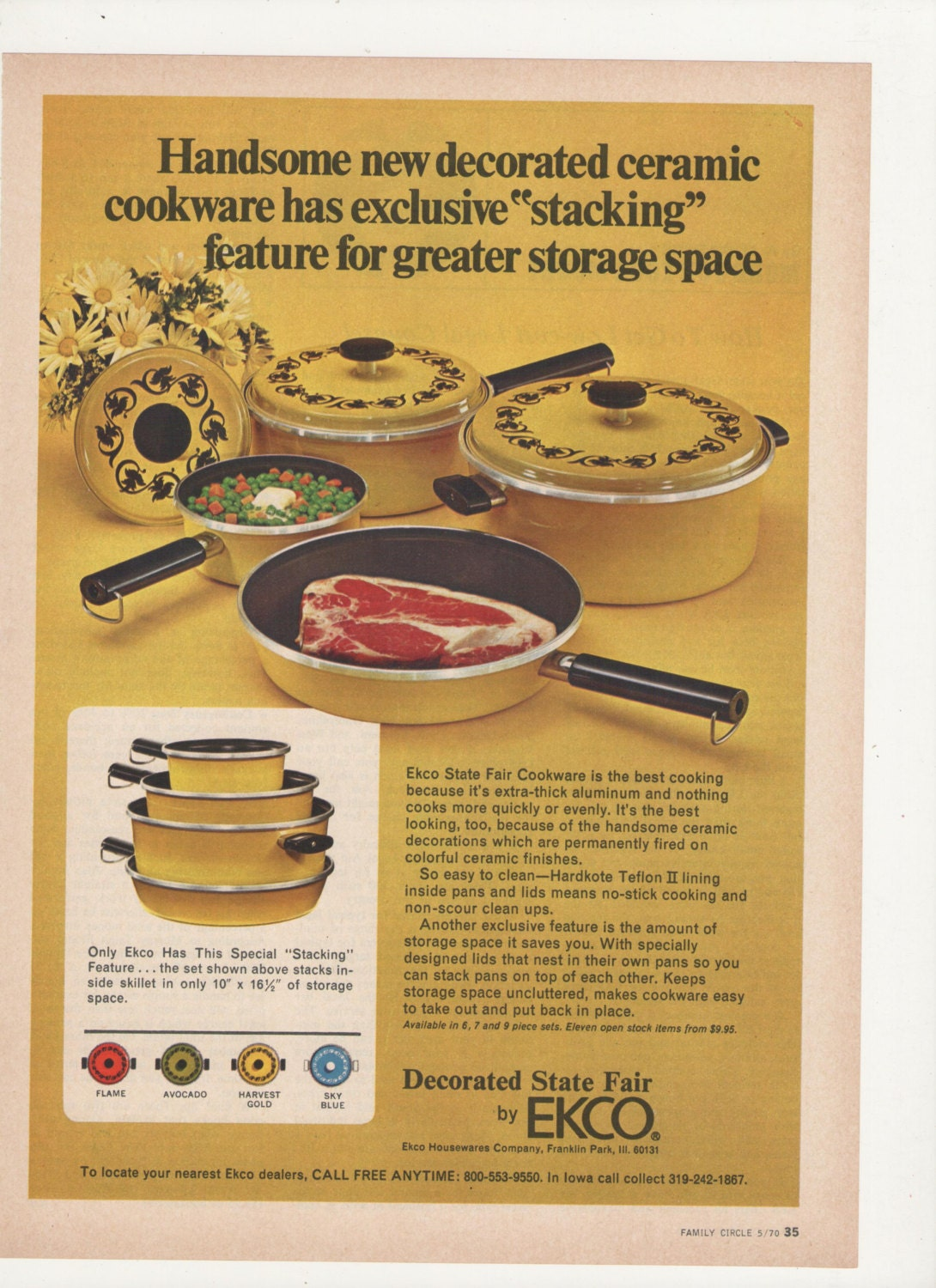 1970 Ekco State Fair Cookware Advertisement Harvest Gold 70s