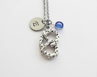 Pretzel Necklace, Food Jewelry, Snack Jewelry, Biscuit Jewelry, Swarovski Birthstone, Silver Initial, Personalized, Monogram, Hand Stamped