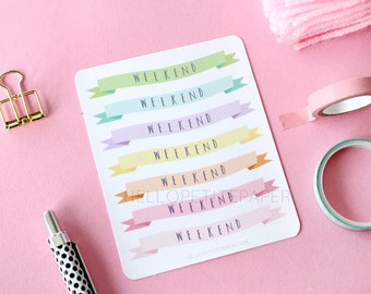 Weekend banner stickers - Decorative rainbow pastel planner stickers