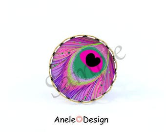 Ring bird feather Peacock pearls purple Green Black