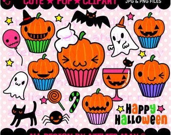TIME SALE!!  Cute kawaii halloween cupcakes illustrations here! Including some cute stuff :) Digital Clipart-Instant Download