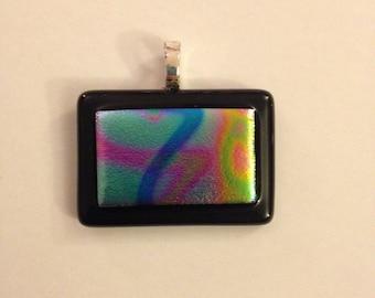 Black and Multicolored Glass Pendant