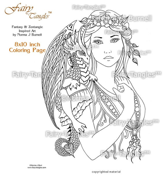 Fairy Dragon Queen Printable Coloring book Sheets Pages
