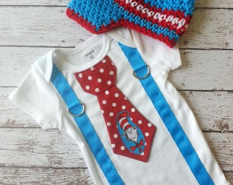 Baby Boy tie one piece bodysuit with suspenders and crochet hat, Cat and the Hat, Dr. Seuss, photo prop, baby boy fashion, birthday shirt