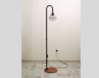 Handmade floor lamp, metal lamp shade, Industrial lighting, loft floor lamp, Iron pipe floor lamp-bedroom lamp-metal diamond cage floor lamp