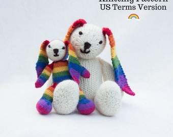 Rainbow Bunny Knitting Pattern (US) Rabbit Knitting Pattern Knit Rabbit Knit Bunny Knitted Rabbit Toy Knitted Toy Bunny Rabbit Knitted