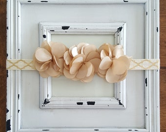 Gold and Ivory Flower Headband-Baby Girl Headband-Newborn Headband-Infant Headband-Toddler Headband-Hair Accessories-Baby Accessories