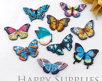 4Pcs Mini Handmade Butterfly Charms / Pendants (CW071)