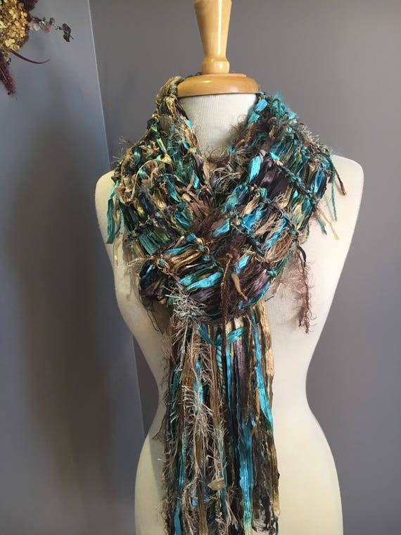 Handmade Fringed Scarf, Scrappy scarf, neutral shades, tan taupe blues sage, Fringed Knit ribbon scarf, art yarn scarf, bohomode, artwear