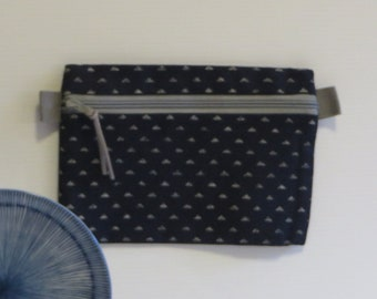 Mini Zip Pouch - Japanese print, indigo blue