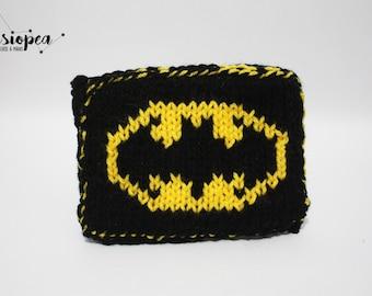 Hand knitted purse, Batman logo
