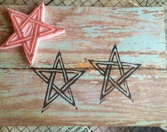 Simple Interwoven Star or Pentagram Handcarved Stamp