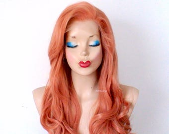 Lace front with lace part wig. Rose gold wig. Pastel wig. Long curly rose gold wig. Durable synthetic wig for daily use or Cosplay.