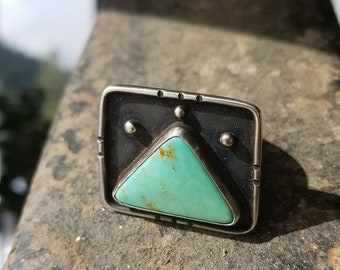 Triangle Turquoise Sterling Silver Ring
