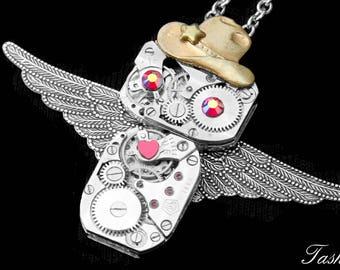 Silver Owl Necklace, Steampunk Pendant, Barn Owl Gift, Western Fashion