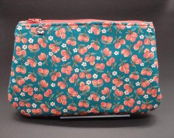Peaches Makeup Bag, Floral Travel Bag, Teal Cosmetic Clutch, Makeup Bag, Zip Pouch, Pencil Case, Wet Sack, Ditty Bag, Makeup Pouch - OOAK