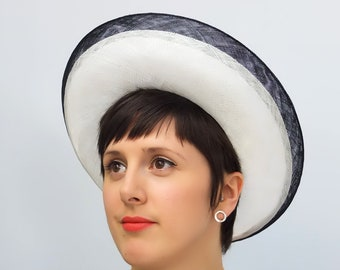 Black and White Straw Halo Hat