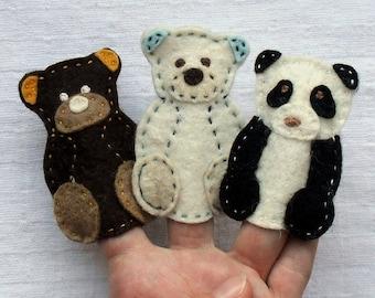 Animal finger puppets, Bears, Felt animals, Felt puppets, Felt Bear