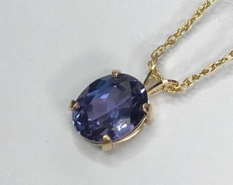 Alexandrite pendant etsy gorgeous 3ct oval cut alexandrite 14k yellow gold filled solitaire pendant necklace color change june birthstone aloadofball Choice Image