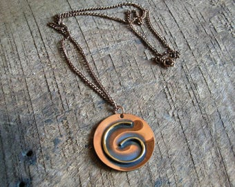 Vintage Copper Modernist Style Circle Necklace