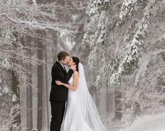 Extra full, extra wide - White, Ivory, Bridal Veil, Cathedral Veil, Chapel Length Veil, Fingertip Lengt