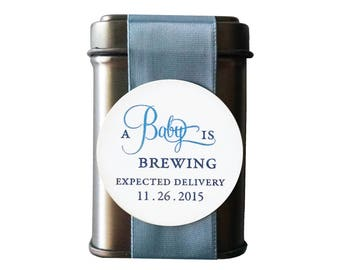 A Baby is Brewing Tea Tin Favor for Baby Boy Shower