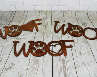 Rustic WOOF plaque, new puppy gift, fur baby, fur mama, woof sign, dog memorial, metal pet memorial, dog woof sign, dog grave marker