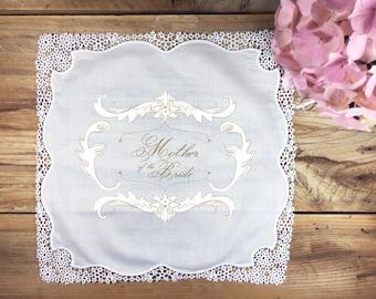 Mother of the Bride wedding handkerchief gift, mother handkerchief, wedding handkerchief, gold wedding handkerchief, mom handkerchief