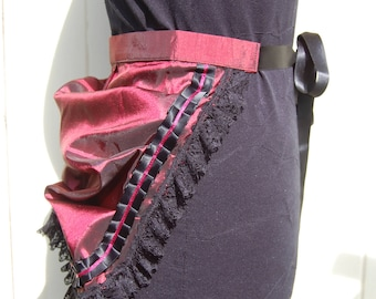 Red Taffeta and Black Lace Steampunk Bustle