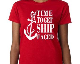 Ship faced tshirt, nautical tshirt, Boat tshirt, Ship tshirt, Drinking tshirt, Bachlorette tshirt, Beach tshirt
