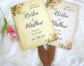 Wedding Fan Wedding Program Fans Coral Rustic Vintage Ceremony Program Fans Wedding Fans Wedding Paddle Fan Program Fan Custom