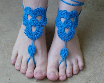 Trinity Barefoot Sandals, Celtic Petal, Triquetra, Bright Turquoise, Blue