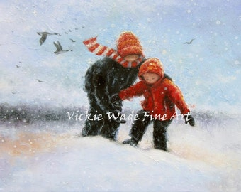 Two Children in Snow Art Print, two boys deep snow, two brothers snow painting, snow children, Vickie Wade Paintings