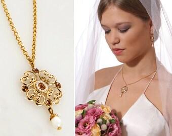 Blush wedding jewelry, Blush wedding, Blush jewlery, Blush bridal jewelry, Blush necklace, Champagne necklace, Champagne jewelry