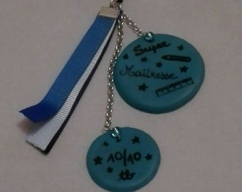 """Keychain, bag charm or telephone """"special teacher"""" in fimo"""