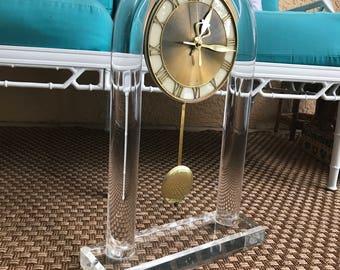 Vintage Lucite Brass Clock
