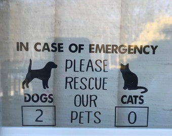 Please rescue our pets, in case of fire, rescue our pets sticker, in case of emergency sticker, cat lover, dog lover, animal sticker