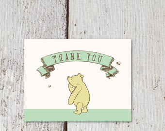 "Winnie The Pooh Thank You Card  |  Blank Interior  |  Printable Digital Download  |  5.5x4.25"" A2"