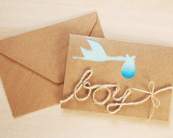 Handmade Blue New Baby Hand Cut Stork Greeting Card (Boy)