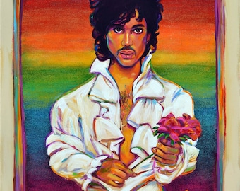 30 by 40 PRINCE PORTRAIT by Robert Phelps--Prince Fan Art, Prince Painting, Prince Portrait Art, Prince Wall Art, Music Icon Portrait