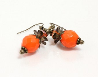 Orange Earrings Vintage Style Czech Firepolished