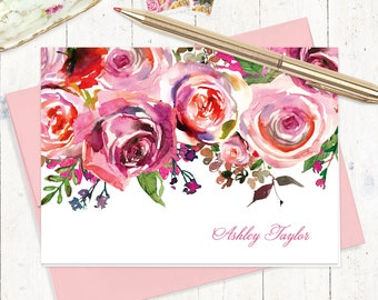 personalized stationery set - PINK WATERCOLOR ROSES - set of 8 folded cards - choose envelope color - custom gift set - floral cards