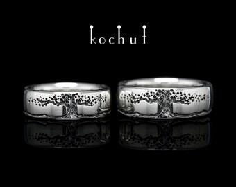 Tree of life ring, silver tree ring, tree of life wedding rings. Silver tree of life wedding rings from Kochut silver collection.