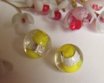 set of 10 round style lampwork beads yellow