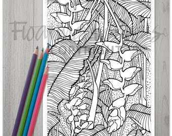 Printable Hardy Heliconias Colouring Page