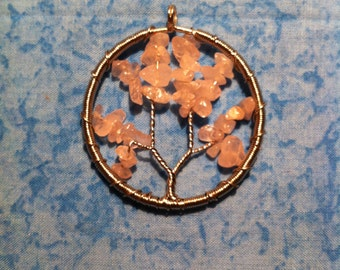 Tree of Life Wire Wrapped Necklace - Rose Quartz