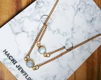 Gold Rainbow Moonstone Necklace and Bracelet gift set