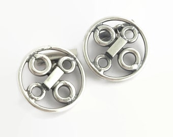 Sterling silver cuff links, industrial style, large and sturdy, made in Portugal, 24 grams, mid 20th century